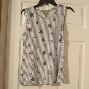NWOT Blue and white Stars and Stripes tank